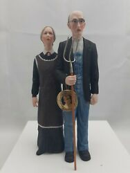 1981 Grant Woodand039s American Gothic 10and039 Porcelain Statue W/ Glass Dome And Base
