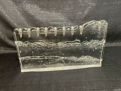 Large Glass Heavy Menorah Made In Israel 14bl Wailing Wall Style Never Used