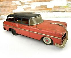 1950s Marusan Tin Lithograph Red Ford Station Wagon Friction Motor Works Japan