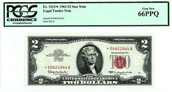 1963 2 Two Dollar Bill Red Seal Star Note Pcgs Ppq Gem 66  S/n 00621844a