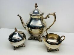 Antique F.b. Rogers Silverplate Coffee Set With Coffee Pot Sugar And Creamer Set