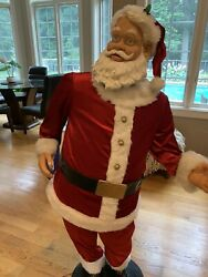 Gemmy Animated Singing Santa 5ft Tall Turns Head Dances And Sings, Mouth Moves