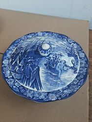 Staffordshire Liberty Blue 9 1 2quot; Covered Serving Bowl w Lid Boston Tea Party