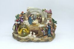 Unique Christmas Nativity With 3 Snow Globes Music Box