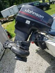Johnson 50hp Outboard With Turbo. Read Needs Work. Boat Motor Flat Bottom
