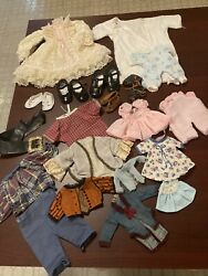 Antique Vintage Doll Clothes Dress Whites Hats Shoes Wigs Body As Is Parts Lot