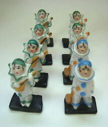 8 Antique German Porcelain Pierrot Place Card Holder Half Doll Related