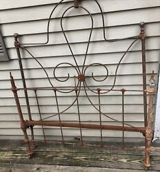 Vintage Original Antique Iron Metal Bed Frame Headboard And Footboard Only