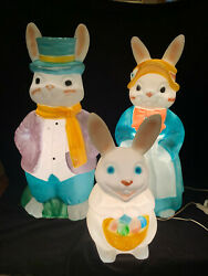 Easter Bunny Family Plastic Blow Mold 36andrdquo Lighted Dandeacutecor By Empire