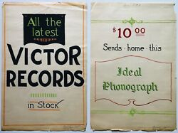 Antique 1918 Original Hand Painted Advertising Posters Victor Records Phonograph