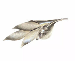 Antique Japanese 9k White Gold Leaf Foliage Seeds Brooch 10 Grams Pin Marked