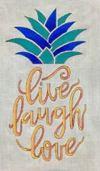 Needlepoint Handpainted Alice Peterson Live Laugh Love Pineapple 11x7