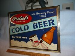 Ortliebs Premium Cold Beer Tin Over Cardboard Sign Made In Reading Pa