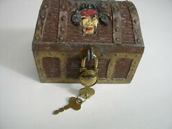 Vintage Metal Treasure Chest Bank With Lock And Key Pirates And Skull