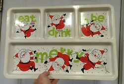 Vintage Large Christmas Santa Claus Serving Tray Eat Drink Be Merry 1960's