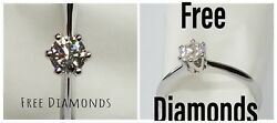 White Gold Solitaire Ring 18 Carats Diamond 050 Ct F Vs1 - Gift Christmas