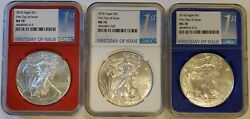 Lot Of 3 2018 Silver American Eagles Ngc Ms70 Fdoi Red White And Blue Core Set