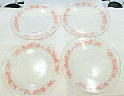 Rare Pyrex Pink Flower Bread And Butter Plate 4 Saucer 6 Gooseberry Mid Century