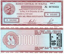 Bolivia 100000 Bolivianos 10c Banknote World Paper Money Currency Pick P197 1984