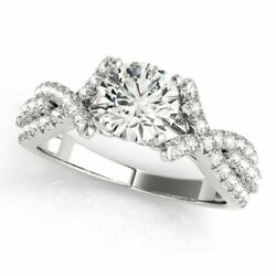 Size 5.5 Real 0.90 Ct Round Diamond Engagement Ring 14k White Gold