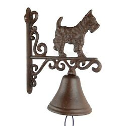 Scottie Dog Dinner Bell Cast Iron Wall Mounted Antique Style Scottish Terrier