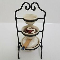 Longaberger Collectors Club Mini Wrought Iron Mixing Bowl Stand+bowl+accessories