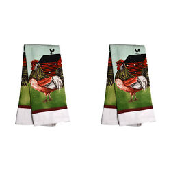 2 x Home Collection Rooster Kitchen Towels 15 x 25 NEW