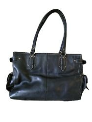 Black Leather Fossil Handbag With Multiple Compartments