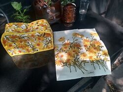 Vintage 60s Crazy Daisy Fallani And Cohn Linen Towels And Toaster Cover