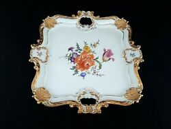 Large Vtg Meissen Porcelain 16x16 Handled Tray W/ Florals And Heavy Gold Accents