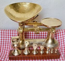 Rare English All Brass Ornate Kitchen Scales 7 Brass Bell Weights On Wood Stand