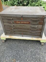 Rare Vintage Cleveland Drill Index Cabinet Hardware Store Great Graphics