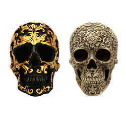2x Retro Skull Life Size Statue Halloween Party Spoof Prop Dsketop Decor