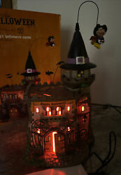Rare Dept 56 Village Flying Mickeyandrsquos Halloween Castle Animated Lighted Witch