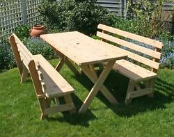Creekvine Designs Cross Legged Picnic Table With Backed Benches Wf27wcltbb4cvd