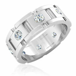 Certified Diamond 0.88 Ct 14k White Gold Mens Engagement Band Size 9 10 11