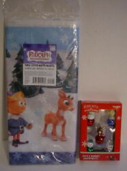Rudolph Red Nosed Reindeer Jingle Buddies Bell Ornaments + Hallmark Table Cover