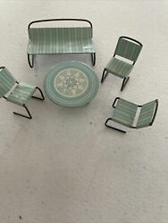 Miniature Metal Lawn Chairs And Table For Doll House Vintage Japan