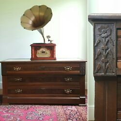 Antique Victorian Eastlake Dresser Chest Tv Console Carved Wood Marble Top