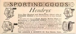 1890 Small Antique Print Ad Hendryx Fishing Reels Flush Handle Rubber Plate