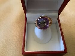 14k Rose Gold Victorian Antique Amethyst Diamond With Diamond Swallow Ring