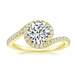 14k Yellow Gold 1.30 Ct Moissanite Solitaire Engagement Wedding Ring Size 8