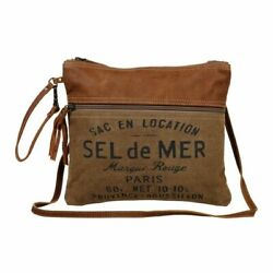 New Myra Bag French Toast Crossbody Shoulder Canvas Leather Paris Graphic $26.99