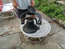 Vintage Antique Cast Iron Farm Dinner School Bell-usa Height 12 By W 14 1/2