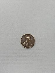 Vintage Error 1938 Lincoln Wheat Penny - Rare With No Mint Mark