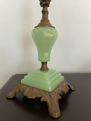 Antique Art Deco Jadeite Green Glass And Cast Metal Table Lamp