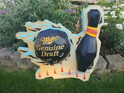 Rare Bowling Ball And Pin Themed Miller Genuine Draft Beer Bar Pub Sign Large
