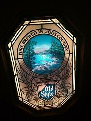 Vintage Old Style Beer Stained Glass River Lighted Motion Sign Heileman