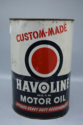Vintage Havoline 5 Us Quart Oil Can, 9 1/2 Tall, 7 Diameter Empty-preowned