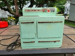 Vintage Wolverine Toy Kitchen Stove Metal Lithograph Mint Green Unknown If Works